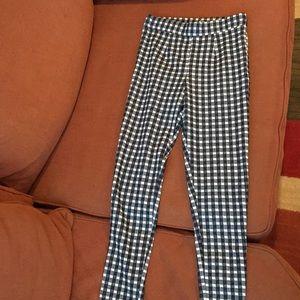 gingham leggings, navy, white